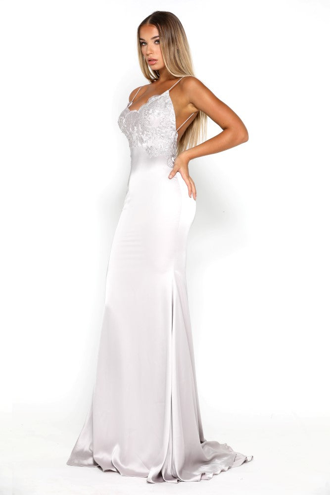 7b9483d2ad6 Portia   Scarlett Valentina Silver Backless Evening Gown (FREE UK ...