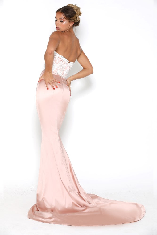 portia and scarlett glamour blush pink and ivory evening dress with scalloped sweetheart bust and mermaid train at shaide side
