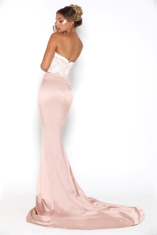 portia and scarlett glamour blush pink and ivory evening dress with scalloped sweetheart bust and mermaid train at shaide back