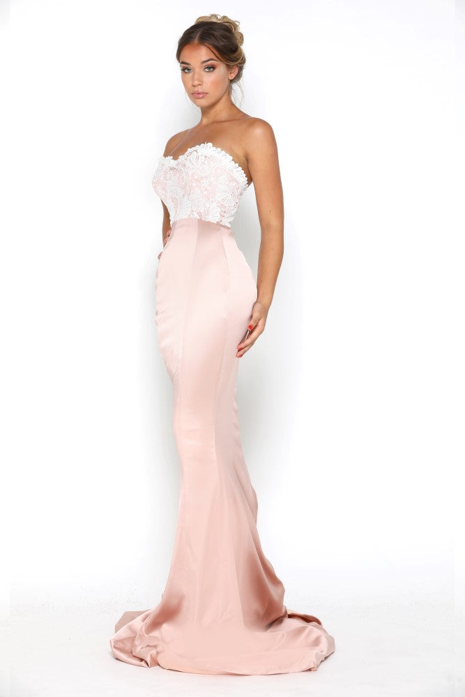 portia and scarlett glamour blush pink and ivory evening dress with scalloped sweetheart bust and mermaid train at shaide front