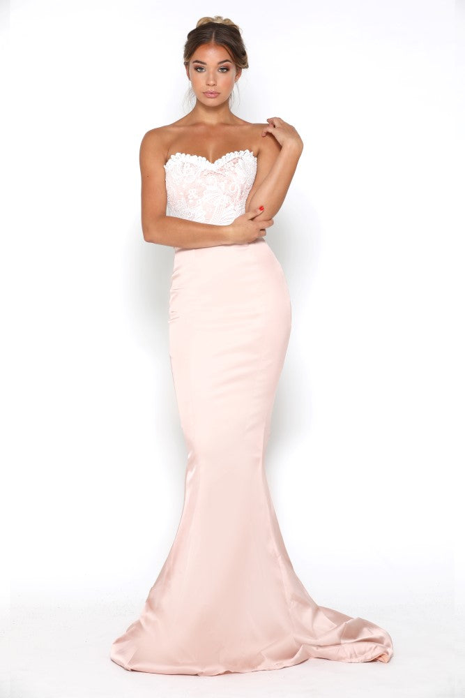 portia and scarlett glamour blush pink and ivory evening dress with scalloped sweetheart bust and mermaid train at shaide
