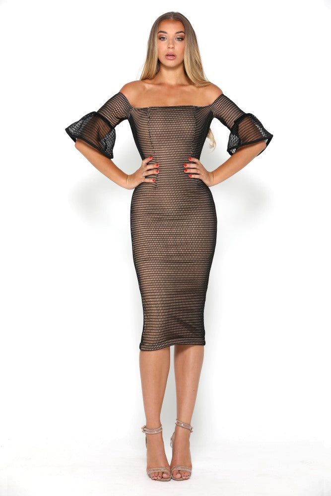 portia and scarlett mariam black cocktail midi dress with lace overlay and bell sleeves at shaide boutique uk front