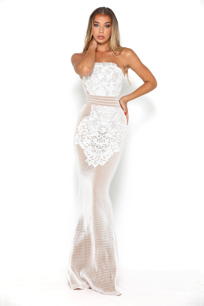 portia and scarlett mariam white strapless prom dress at shaide boutique uk