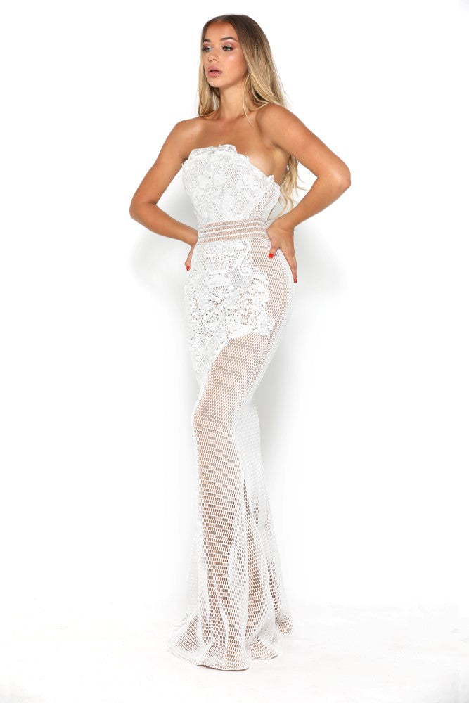portia and scarlett mariam white strapless prom dress at shaide boutique uk side