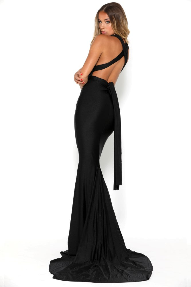 portia and scarlett liliana sexy fit bodycon black prom dress backless