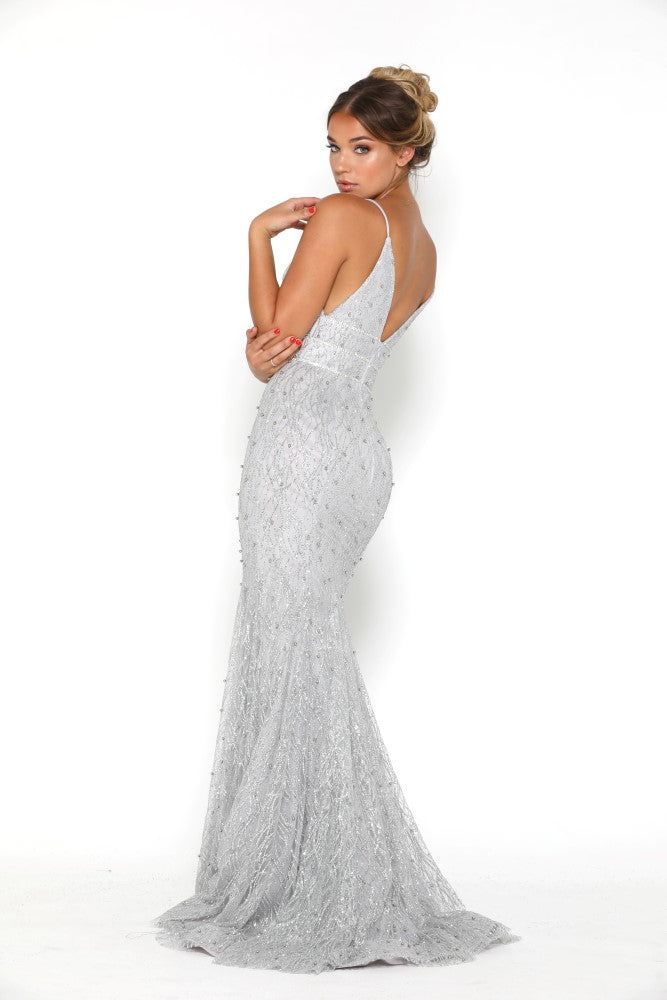 portia and scarlett olivia silver beaded sequin beautiful embroidered prom dress at shaide boutique uk front