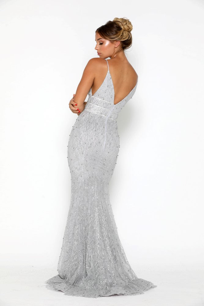 portia and scarlett olivia silver beaded sequin beautiful embroidered prom dress at shaide boutique uk back