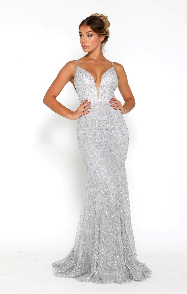 portia and scarlett olivia silver beaded sequin beautiful embroidered prom dress at shaide boutique uk side