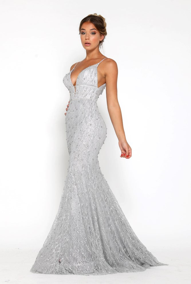 portia and scarlett olivia silver beaded empire bust sequin beautiful embroidered prom dress at shaide boutique uk