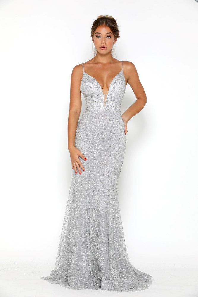 portia and scarlett olivia silver beaded sequin beautiful embroidered prom dress at shaide boutique uk