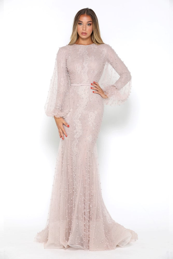 21eb3106744f Portia   Scarlett Modest Long Sleeve Lace Pearl Blush Evening Gown ...