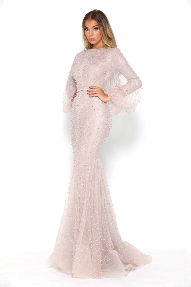 portia and scarlett nadz pearl blush modest evening dress with long sleeves from shaide boutique uk london