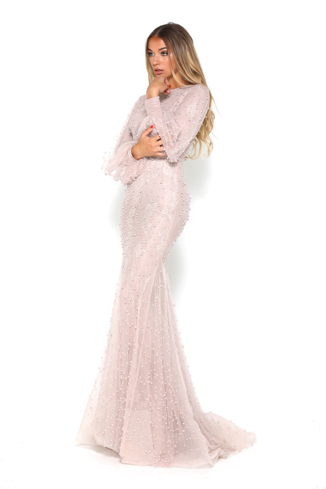 portia and scarlett nadz pearl blush modest evening dress with long sleeves from shaide boutique uk london beads