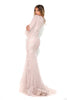 portia and scarlett nadz pearl blush modest evening dress with long sleeves from shaide boutique uk london back