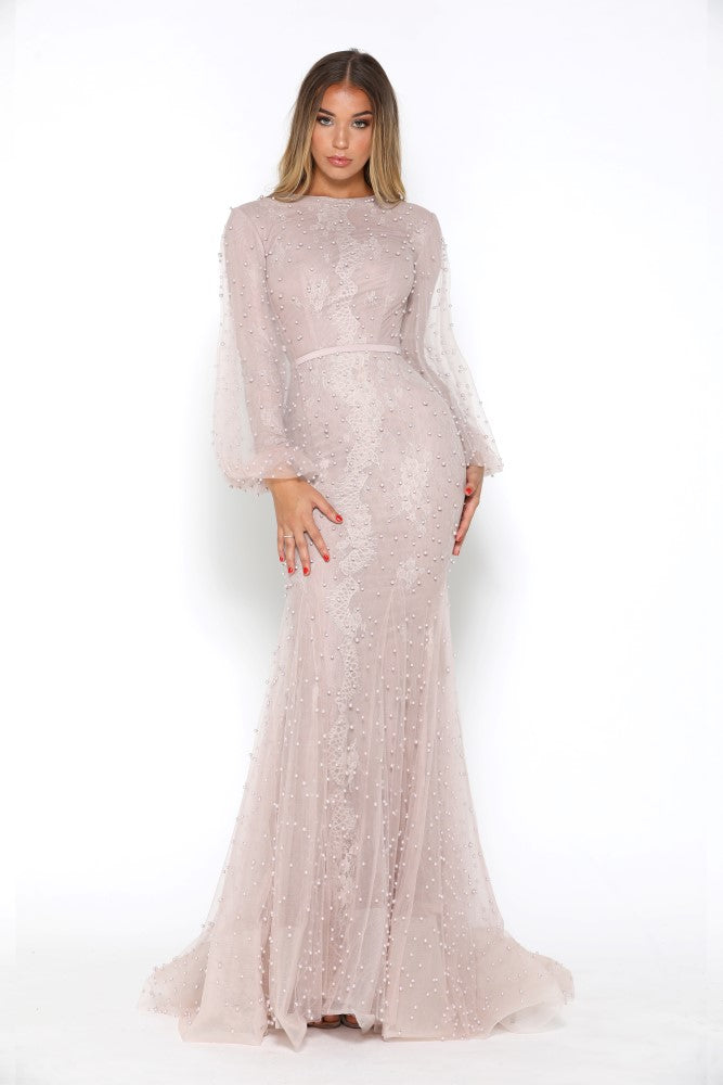 portia and scarlett nadz pearl blush modest evening dress with long sleeves from shaide boutique uk london side