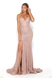 portia and scarlett athena rose gold sweetheart bodycon sexy side prom dress shaide boutique uk