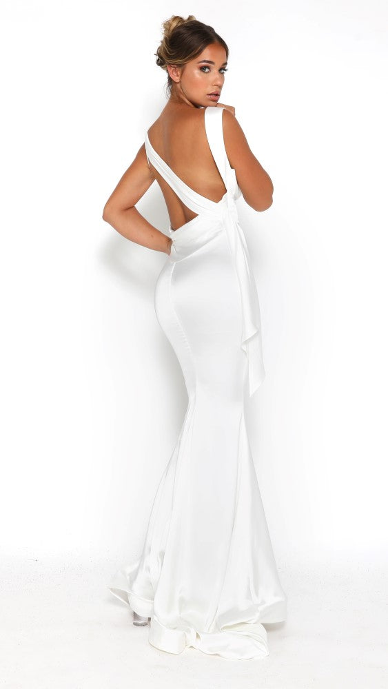 portia and scarlett london silky satin white long prom dress formal