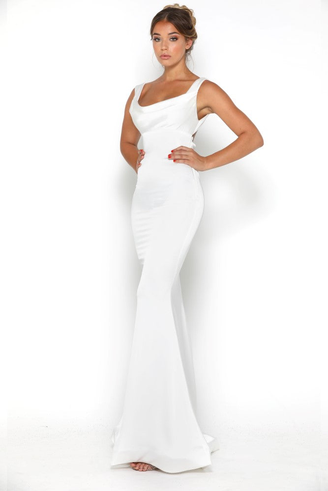 portia and scarlett london silky satin white long prom dress