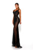 Portia & Scarlett Matrix Black Sequin Evening Gown semi sheer