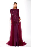 Portia & Scarlett Laurent Plum Long Sleeve Evening Gown