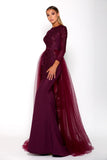 Portia & Scarlett Laurent Plum Long Sleeve prom dress