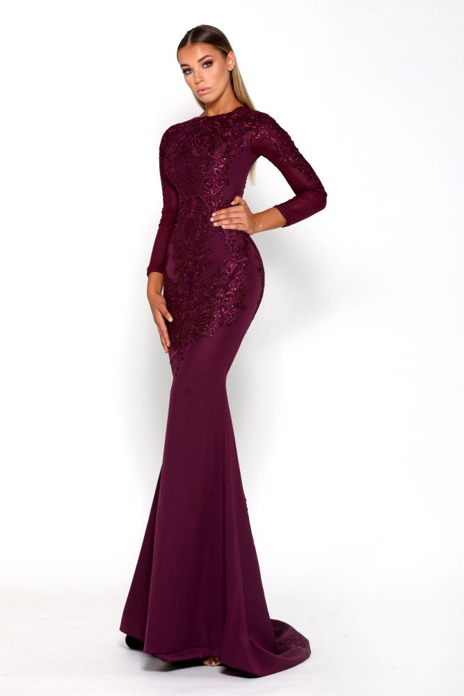 Portia & Scarlett Laurent Plum Long Sleeve formal gown