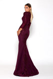 Portia & Scarlett Laurent Plum Long Sleeve bridesmaids dress
