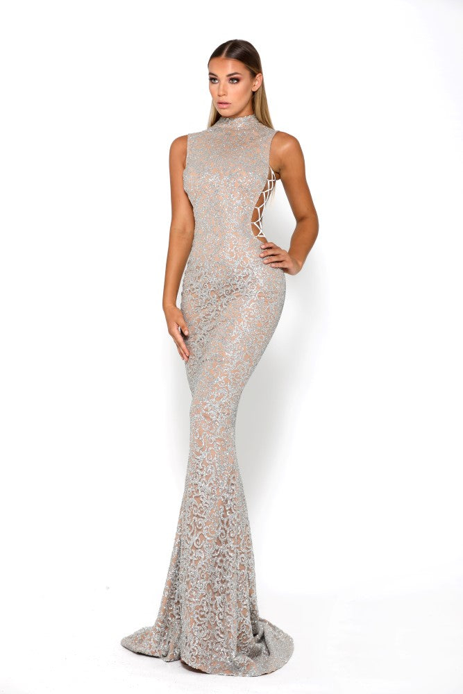 portia and scarlett hermitage 1705t evening gown with cut out sides silver sequin