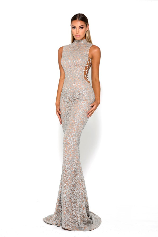 portia and scarlett hermitage 1705t formal gown with cut out sides silver sequin with mermaid train