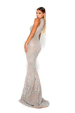 portia and scarlett hermitage 1705t evening gown with cut out sides silver sequin kendall jenner met gala