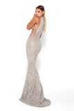 portia and scarlett hermitage 1705t prom dress with cut out sides silver sequin