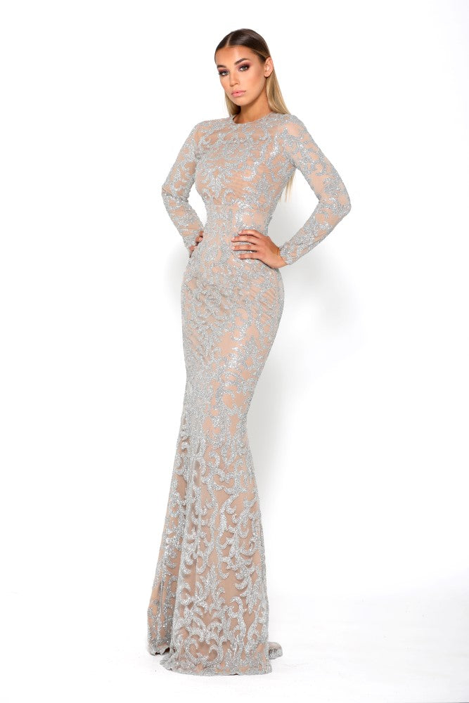 Portia & Scarlett Dramatic Modest Bedazlle Long Sleeve prom dress with silver