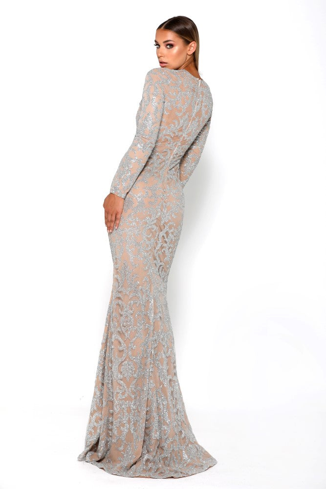 Portia & Scarlett Dramatic Modest Bedazlle Long Sleeve evening gown