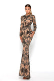 Portia & Scarlett Brocade Black Long Sleeve Evening Gown