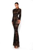 Portia & Scarlett Brocade Black Long Sleeve Evening Gown bodycon prom dress
