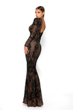 Portia & Scarlett Brocade Black Long Sleeve Evening Gown mermaid fishtail evening gown