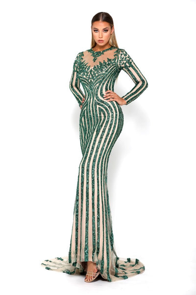 Portia & Scarlett Modest Bond Emerald Long Sleeve Evening Gown