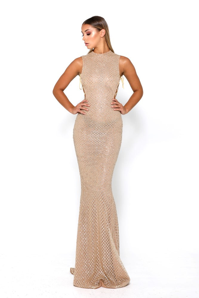 Portia & Scarlett Zachery Gold Evening Gown evening dress