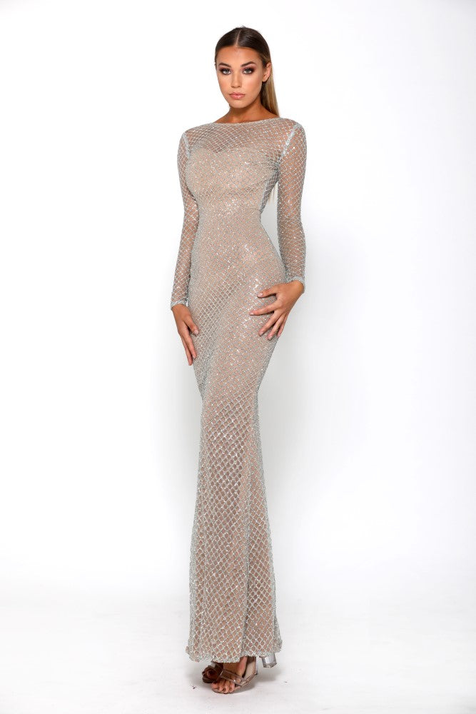 Portia & Scarlett Khloe Modest Silver Long Sleeve Evening Gown