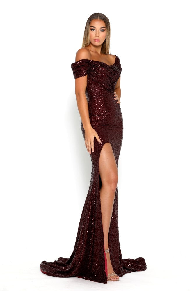 portia and scarlett diamond 69 bardot cap sleeved burgundy sequin evening dress with mermaid train front