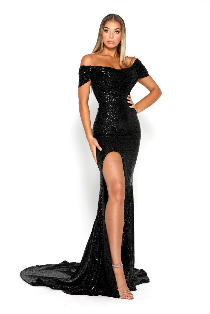 portia and scarlett black sequin draped bust long evening dress with thigh split