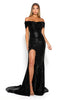portia and scarlett black sequin draped bust long evening dress with thigh split mermaid train