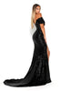 portia and scarlett black sequin draped bust long evening dress with thigh split bardot sleeves