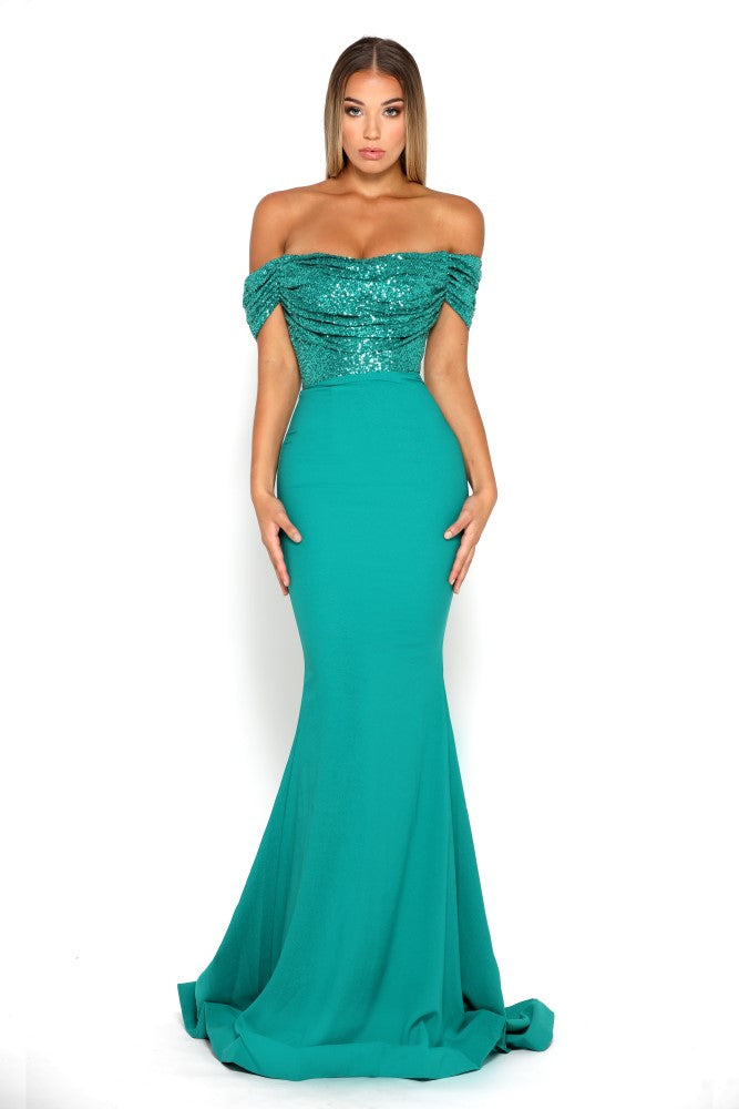 portia and scarlett mermaid emerald green sequin cap sleeved bridesmaids dress shaide boutique uk front