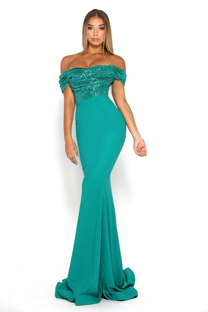 portia and scarlett mermaid emerald green sequin cap sleeved bridesmaids dress shaide boutique uk