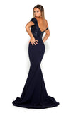 portia and scarlett mermaid navy blue strapless bodycon sequin sexy bridesmaids dress uk back