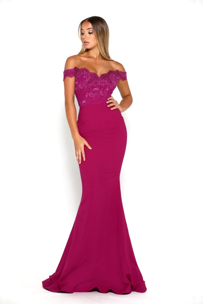 portia and scarlett snow strapless lace evening dress with capped sleeves and mermaid train at shaide boutique uk front