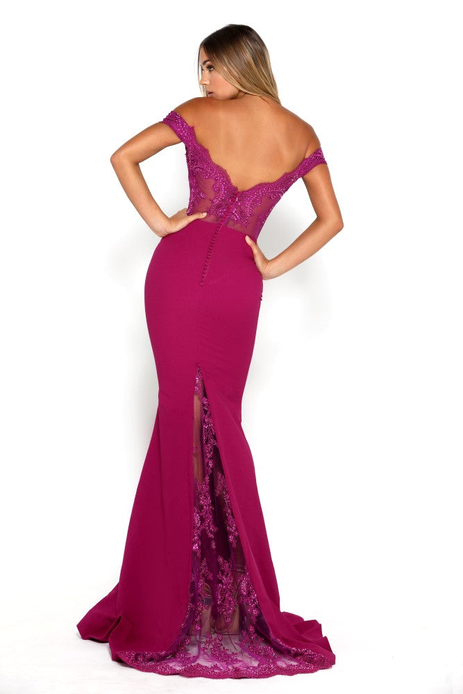 portia and scarlett snow strapless lace evening dress with capped sleeves and mermaid train at shaide boutique uk backless
