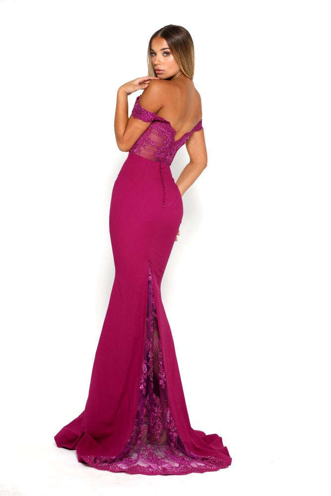 portia and scarlett snow strapless lace evening dress with capped sleeves and mermaid train at shaide boutique uk side