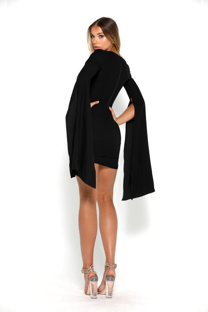 portia and scarlett anna black mini dress with long sleeves